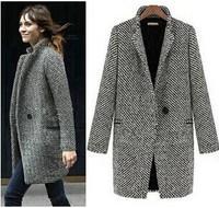 2014 New Arrival Turn Down Collar V-Neck Single Button Woolen Coat Women Plaid Long Winter Coat Outerwear Plus Size