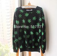 Harajuku  shirts for men/women printed cannabis hemp weed leaf  floral sweatshirt pullover hoodies autumn tops