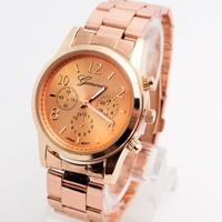Geneva Luxury High Quality Wholesale Wrist Watches women Men fashion Stainless Steel Analog Quartz Watch TSW180