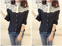 2014 New style women lace patchwork blouse shirts Cape-style chiffon casual shirt stitching lady clothing