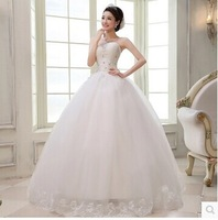 Wedding Dress Ball Gown 2014 Tube Top Bandage Lace Slim Princess Wedding Dress Plus Size Wedding Dresses Custom Made