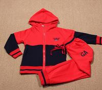 2014 fashion autumn 100%cotton boy's/girl's hooded jacket +long pants mix color Children Set Kids Suit Outfits 0356
