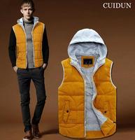 New 2014 Autumn Winter Men Fashion Casual Hooded Vest Outwear Men Sleeveless Jacket Coat Men clothing