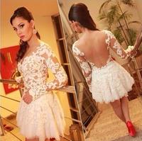 femininas white prom lace patchwork mini dress vestidos de festa free shipping