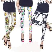 Drop shipping 2014 autumn cotton Graffiti thin elastic mesh jacquard lace pantyhose leggings Fashion Girls free shipping