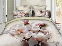 GOOD QUAILTY 100% cotton 3d magnolia duvet cover sets/3d bedding set oil printing/bed sheet/Gig flower quilt cover sets