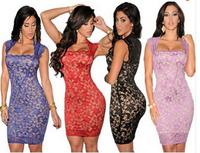 Summer 2014 Sexy Elegant Royal-Blue Lace Nude Illusion Vintage Bodycon Dress LC21036 roupas femininas de festa dress to party