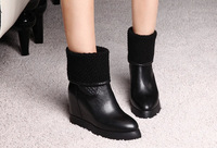 New arrive ,Fashion women  winter genuine  leather  boots with heigth  increasing  heel elastic upper, black ,beige ,red color