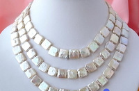 """Jewelr 003824 LONG 50"""" 12MM WHITE SQUARE FW CULTURED PEARL NECKLACE"""