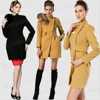 New fashion 2014 autumn winter jackets coat women slim real fox fur collar casual vintage thicken wool blends work wear black