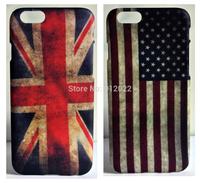2 X Retro USA/UK Flag Design Hard Skin Cover Case For Apple iPhone 6 6G +Free Screen
