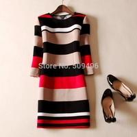 2014 Autumn Brand New Multi Colors Striped Three Quarter Sleeve Dress, Spring Color Block Cotton Pencil Dresses Plus Size XXXL