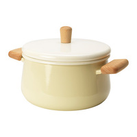 1 piece beige color 3L enamelled steel pot with lid, soup pan