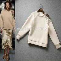 Free shipping 2015 high street asymmetrical shoulder-off beading pullover hoodies women's brand fashion sweatshirts