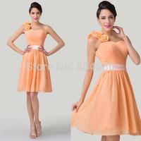 Wholesale! Grace Karin Stock Fashion Knee Length Sexy One Shoulder Flower Slim Party Gown Short Bridesmaid Dress Orange CL6219