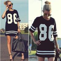 New 2014 Summer Women Celebrity Oversized 86 American Baseball Tee T Shirt Top Short Sleeve Loose Dress[240478]