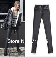 FREE SHIPPING Women High Waist Pants Black Stretchy faux Leather Leggings  MM002