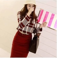 2014 Autumn Winter Fashion  Vintage Long Sleeve Plaid Shirt and Red Wrap Dress Elegant Crop Top And Skirt Set 2 Pieces Set China