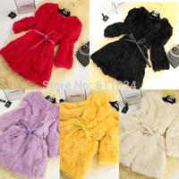 2014 Autumn Winter Women Clothes Korean Fashion Slim O-neck Long sleeve High Quality Rabbit Fur Coat Plus Size Coat Size:M-XXL