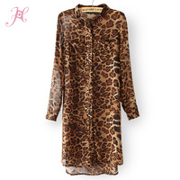 2014 European Style Women Autumn Dress High Street Long Sleeve Double Pockets Chiffon Leopard Slim Casual Dress