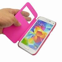 PU Leather Case Open Window Design ,Flip Case For Samsung Galaxy S5mini G800
