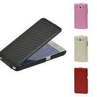 Carbon fiber leather flip hard bag CASE COVER protect for Samsung Galaxy Core 2 G355H