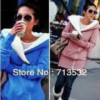 2013 autumn -summer Korea Women Hoodies Coat Warm Zip Up Outerwear Sweatshirts 4 Colors free shipping XIZ45