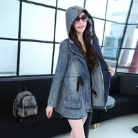2014 2014 High Quality New Fashion Women's Long Denim Coat Hoodie Coat Adjustable Waist Outerwear YYJ419