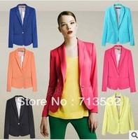 2013 Free shipping Womens Tunic sleeve Blazer Jacket candy color suit one button blazer cardigan Coat XS,S,M,L,XL  XIZ02