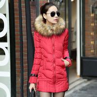2014 New Winter Fashion High Quality Korean Style Women Slim Long Down Coat Fur Collar Thick Warm Jacket YYJ164