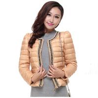 2014 New Fashion High Quality Korean Style Women Slim Short Jackets Down Coat Vintage Aristocratic wind Thin Warm Jacket YYJ322