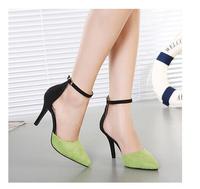 698-10 Elegant Women Point Toe Pumps Thin Heels Ankle Wrap Buckle High Heels Shoes Wedding Shoes