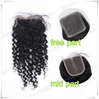 Wennie's high quality 4'' X 4'' Full Lace Closure 8''-24'' 100% Brazilian remy Human Hair deep curly Handmade Nactural black