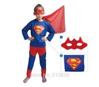 Eyeshade+Coat+pants 3 in 1 Boy Superman Long Sleeve SuperHero with Halloween Christmas Costume Gift Boys Clothing Free Ship