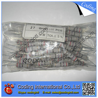 100pcs/lot metal oxide film resistor 5W 1R 5% 1 ohm (1R-4.7M  Assorted Kit Each)