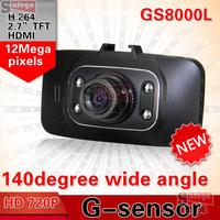 1 set Car Camera full hd DVR GS8000L 1920*1080P 140 degrees wide Angle 2.7inch LCD G-Sensor HDMI