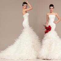 2014 wedding formal dress lace strap short trailing tube top princess fish tail slim
