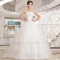 2014 clothing sleeveless white Strapless sweetheart lace wedding dress long sections vestido de novia vestido de noiva 021