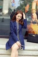 Free Shipping 2014 Women Coat Winter Blue Slim Wool Coat Long Brand Desigual Woolen Coat Female Overcoat