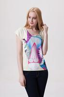 Drop Ship Women Roupas Femininas Woman t-shirts 2014 Summer Fashion Cartoon Animal Plus Size Casual Print T shirt Loose Top