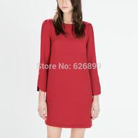 2014 New Arrival Autumn Ladies' Elegant Dress Prom Gown Tunic Red Color Loose Three Quarter O-Neck Feminina Dress BE 32(EB)