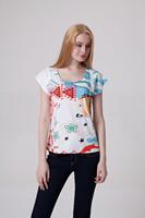 Drop Ship Women Roupas Femininas Woman t-shirts 2014 Summer Fashion Design Fish Graffic Plus Size Casual Print T shirt Loose Top