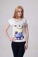 Drop Ship Roupas Femininas Sexy t-shirt women 2014 Fashion 2014 Design Minions Gru Plus Size Casual Printed T shirt Loose Top