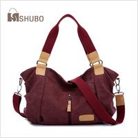 SHUBO Solid Canvas Handbags 2014 Brand Women Portable Fashion Shoulder Bag Messenger Handbag Tote 4 Color Bolsas Femininas SH059