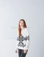 2014 New fashion Europe Women vintage elegant geometric pattern Hoodies coats Lady casual brand design pullovers tops#J363
