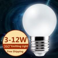 1pcs led bulb lamp High brightness E27 3W/5W/7W/10W/12W 2835SMD Cold white/warm white AC200V-260V Free shipping