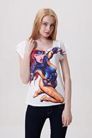 Drop Ship Women Femininas Woman t-shirts 2014 Summer Fashion Beauty Plus Size Casual Printed T shirt Loose Top