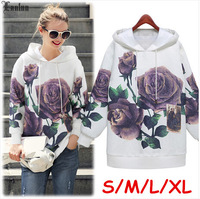 Lanluu New Arrival 2014 Autumn Spring Wear Hoodies Women Pullovers Print Sweatshirt SQ908