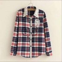 2014 women autumn long sleeve plaid shirt casual lace collar shirts Q104