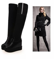 2014 winter women's boots thigh high boots elastic fabric design platform over the knee boots winter shoes    XY288